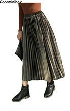 Cocominibox Women's Metal Color Velvet Pleated  Skirt Shiny Spring Autumn A Line Vestidos
