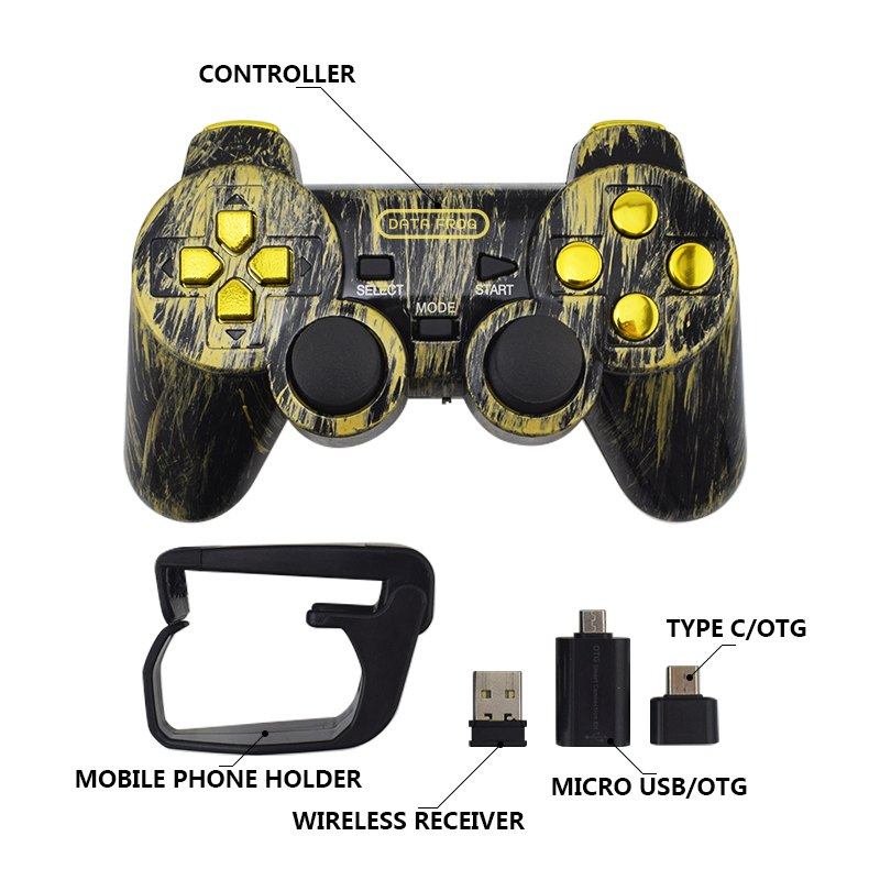 Data Frog Wireless Controller 2.4 G Android Gamepad Joystick Type C For Android Smart Phone Joypad For PC For PS3 TV Box