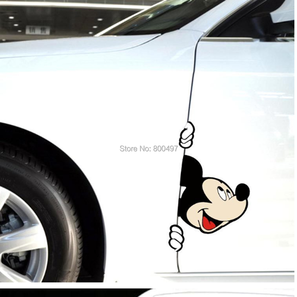 10 x lovely mickey peering car body stickers car decal for toyota chevrolet volkswagen tesla honda ford hyundai kia lada