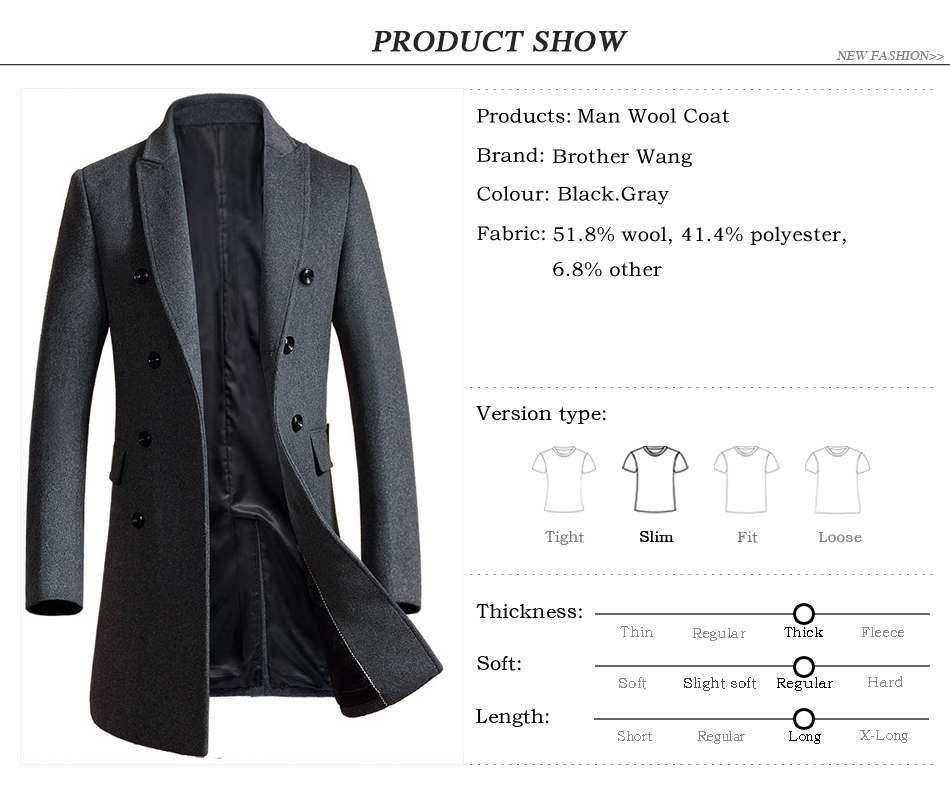 Brother Wang Brand 2019 Autumn Winter New Men Slim Long Woolen Coat Business Casual Fashion Mens Overcoat Jacket 1721