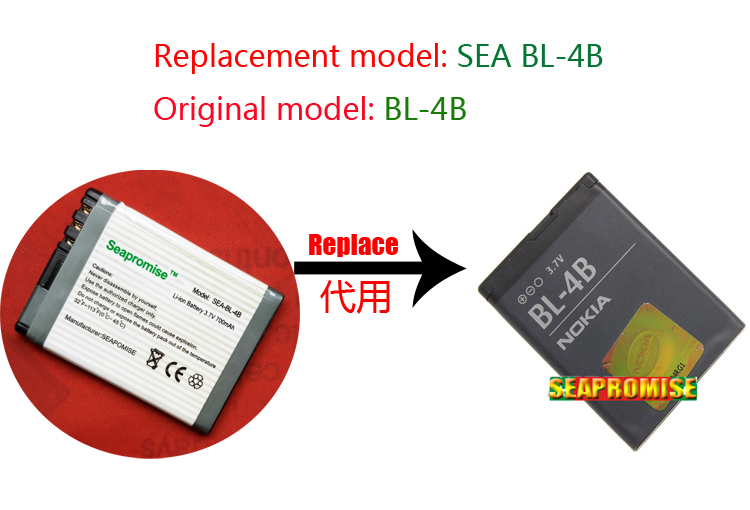 wholesale 25PCS mobile phone battery BL-4B BL4B for <font><b>Nokia</b></font> 6111 2630 2660 2760 3606 3608C7070 N75 <font><b>N76</b></font> N5000 image
