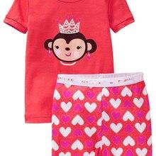 PS221, обезьяна, 1 компл. летние детские пижамы для девочек, с коротким рукавом комплекты одежды для сна для От 2 до 7 лет, хлопок