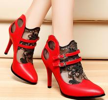European and American Spring and Autumn New Black Lace Lady High Heels Sticky Sharp Single Shoe.