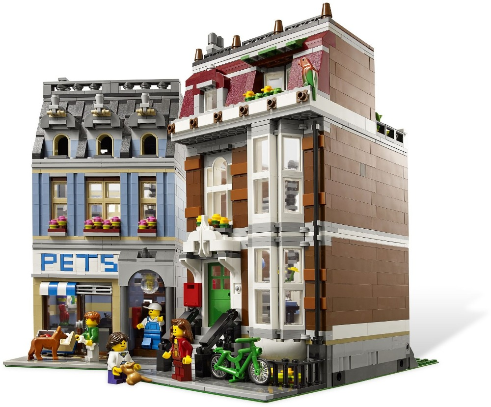 Lepin2082pcs City Street Pet Shop Model Building Blocks Assembling compatible with legoingly bricks Educational Toy for children lepin 15008 2462pcs city street green grocer legoingly model sets 10185 building nano blocks bricks toys for kids boys
