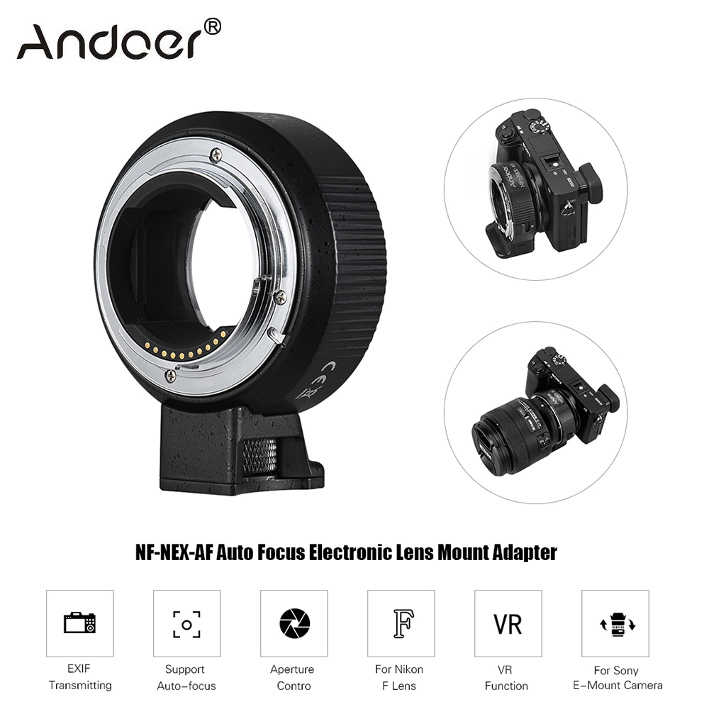 Andoer NF NEX AF Auto Focus EXIF Transmitting Aperture Lens Mount Adapter Ring for Nikon F