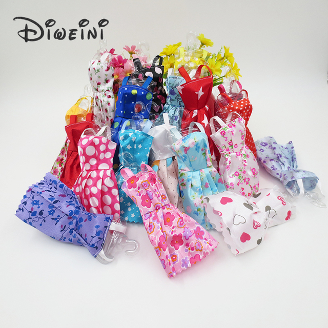 10pcs dress Barbie dolls for girls 1:6 dolls accessories baby doll toy 3 year clothes lace dress Birthday gift for girls 31cm