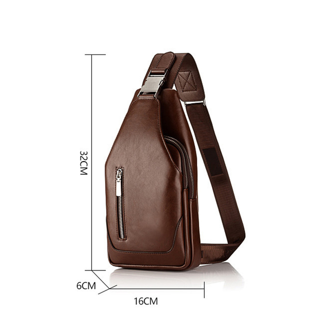 Promotions 2019 new arrived Men's casual Shoulder PU leather Crossbody Bags travel Chest pack Messenger bag With USB Interface-in Waist Packs from Luggage
