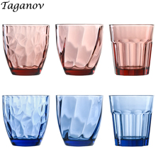 цена на Juice Glass Colorful Creative Embossing Water Glass 6 pieces / lot Pink Blue Thickened Wine Beer Glass Tea Milk Tumbler chivas