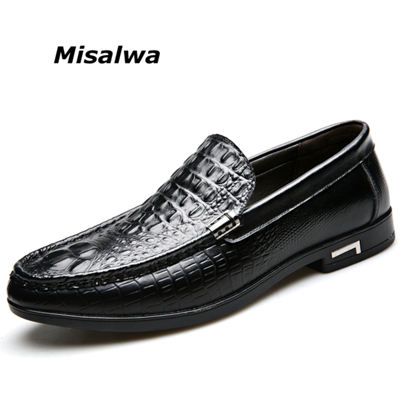 Misalwa Drop Shipping Men Casual Leather Shoes Crocodile Pattern Loafers Comfortable Daily Shoes Slip on Brown Male Flats 2019