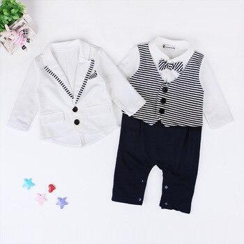 Newborn Baby Boys Clothes Set Gentleman Striped Tie Romper + Jacket Coat 2pcs Clothing Set Infant Boy Set New Born Baby Suit 1