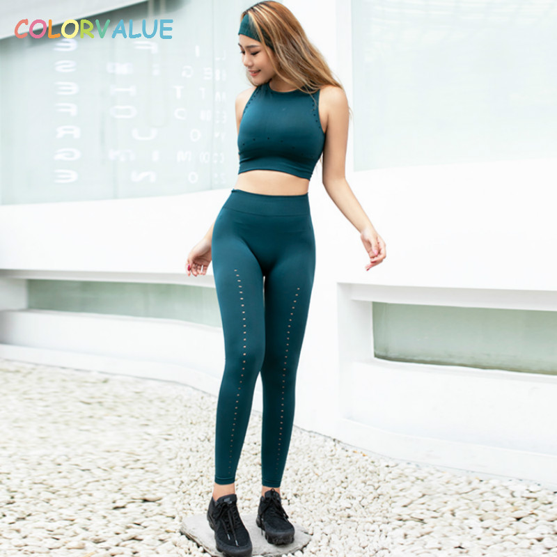 Colorvalue Hollow Out Seamless Fitness Sport Suits Women Padded Gym Bra Crop Top High Waist Solid Leggings Yoga Sets Sportswear