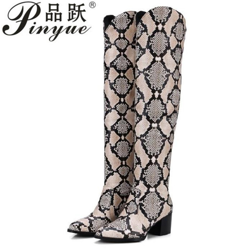 2018 Patent Over the Knee Boots Women Snake Print Slip on Winter Boots Square Heels Pointed