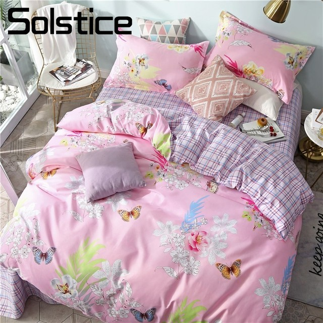 Solstice Home Textile Queen King Full Twin Bedding Sets Girl Kid Adult Linens Pink Flower Duvet Quilt Cover Pillowcase Bed Sheet