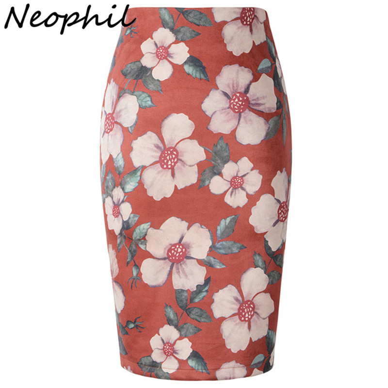 Neophil 2018 Winter Suede Pencil Midi Skirts Women Floral Print Pattern High Waist Plus Size Sexy Ladies XXXL Jupe Femme S1825