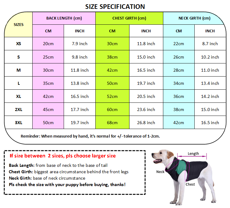 dog t shirt size