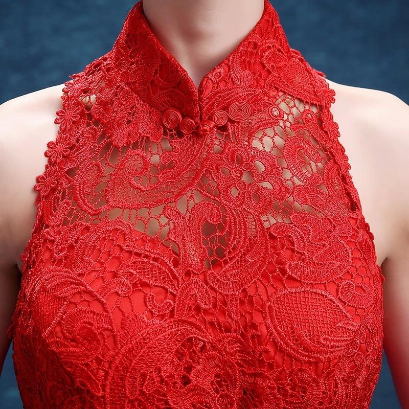 dentelle rouge traînant sans manches sirène moderne cheongsam robes - Vêtements nationaux - Photo 3