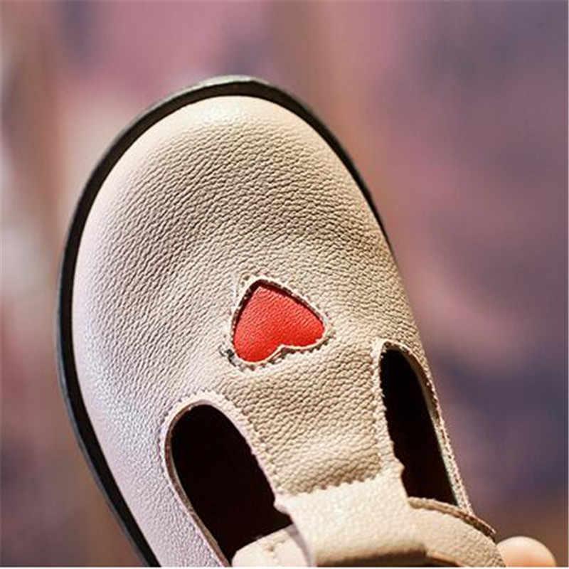 น่ารัก PU หนัง Loafers สีแดง Hollow Out เด็กอังกฤษรองเท้ารอบ Toe เด็กรองเท้าแตะร้อนหมายเลขฤดูใบไม้ผลิ