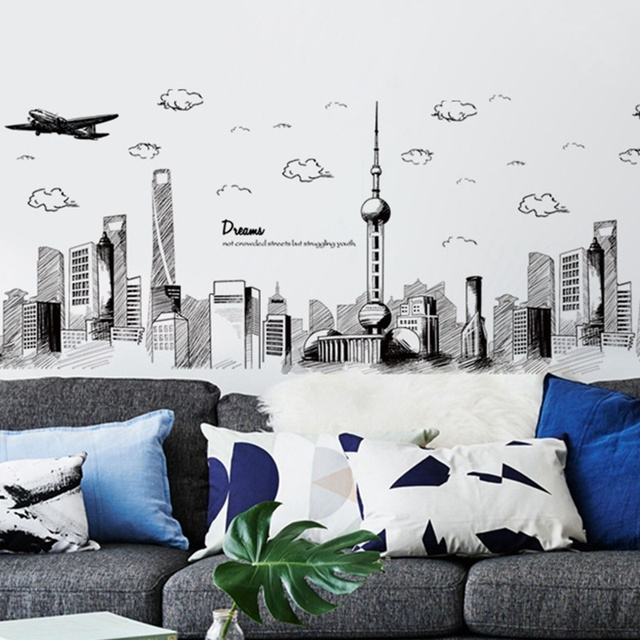 creative sketch city scenery wall stickers for living room bedroom