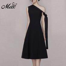 Max Spri 2019 Summer New Collection One Shoulder Lace Up Women A Line Midi Dresses Cocktail Party Elegant Little Black Dress