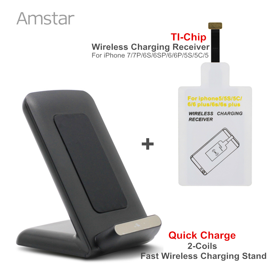 Amstar Qi Fast Wireless Charger 10W 2Coils Quick Wireless
