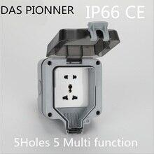 IP66 presa impermeabile Multi funzione di cinque buche Presa di Potere Della Parete Esterna Impermeabile 16A Presa Elettrica Standard di Messa A Terra