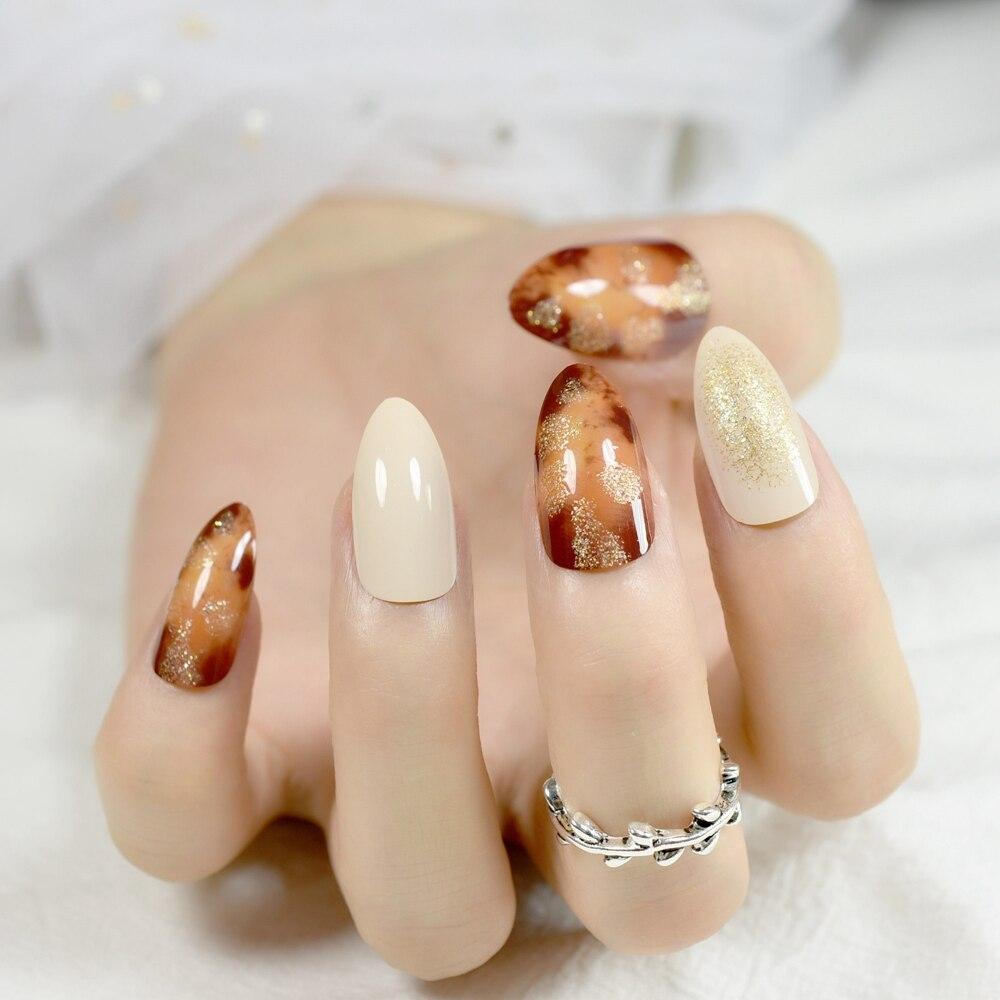 shimmer glitter beige acrylic nails