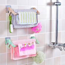 Seamless Stainless Steel Double Towel Rack Free Punching Suction Cup Towel Stand Integrated Kitchen Bedroom Double Pole стоимость