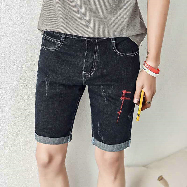 black distressed shorts mens