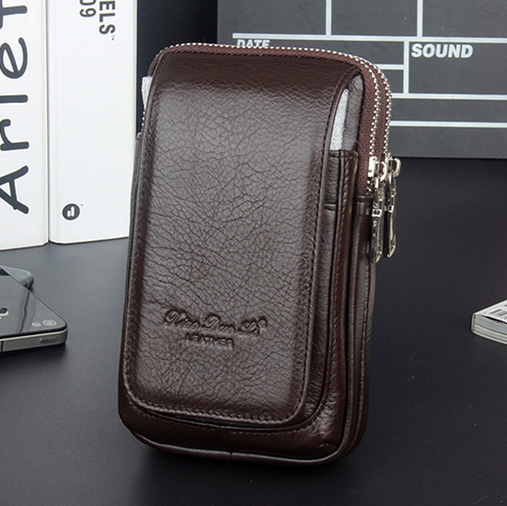 New Men Genuine Leather Fanny Waist Bag Cell/Mobile Phone Coin Purse Pocket Belt Bum Pouch Pack