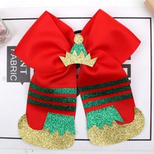 7 Inch Large Hair Bows for Girls Christmas Cheer Patchwork Glitter with Elastic Band Party Festival Kids Headwear