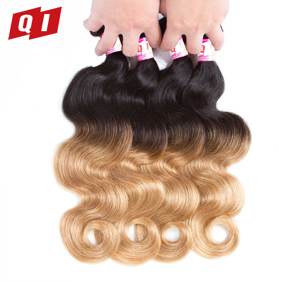 QI Hair Double Weft Peruvian Body Wave Hair 4 Bundles 1B/27 Color Hair Weaving 100% Non Remy Human Hair Weaves Extensions