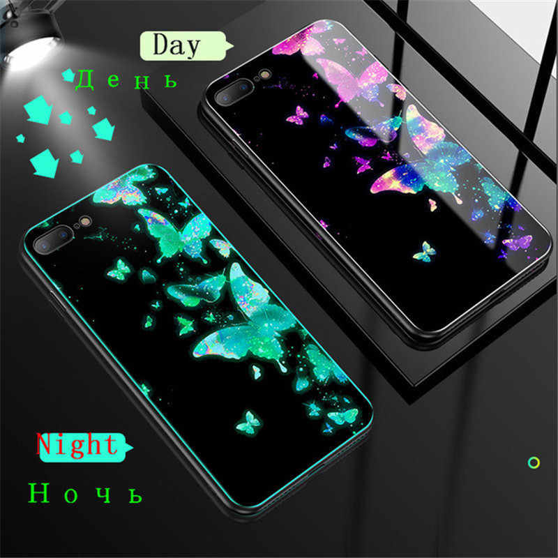 Luminous Tempered Glass Case For iPhone 5 5S SE 6 6S 7 8 Plus Case Glass Back Cover Case For iPhone X XR XS XS 11 Pro Max Cover