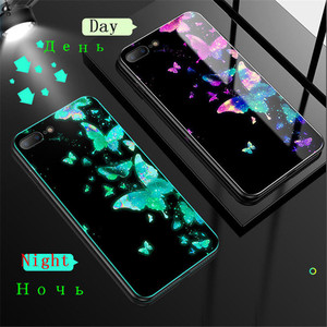 Luminous Glass Case For iPhone 5 5S SE 6 6S 7 8 Plus Back Cover For iPhone X XR XS 11 Pro Max Case Cover Glow Fluorescent Cell(China)