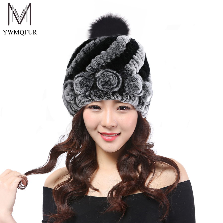 YWMQFUR Rex rabbit fur hat with fox ball rex rabbit knitting autumn and winter protection warm pineapple cap women's beanies H44 rabbit hair lady autumn winter new weaving small pineapple fur hat in winter to keep warm very nice and warm comfortable
