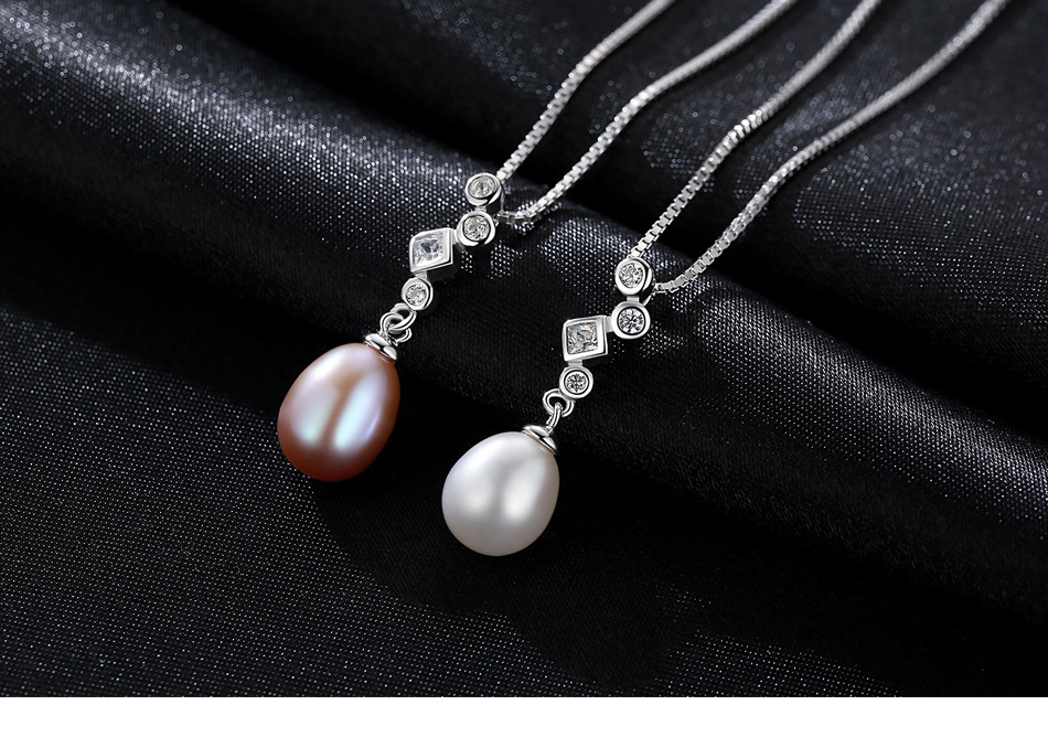 S925 collier en argent femelle perle d'eau douce naturelle zircon accessoires simples et simples LBM28