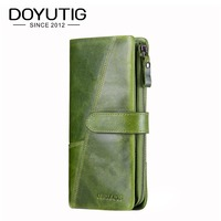 DOYUTIG Vintage Women Green Genuine Leather Wallet Female Long Clutch Lady Walet Luxury Brand Money Bag Zipper Coin Purses A160