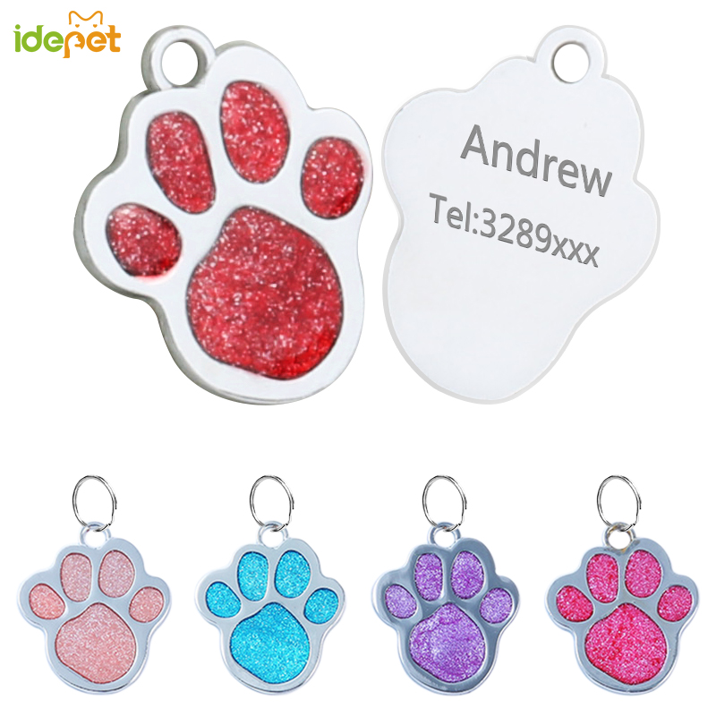 f8b38dd63476 Custom Engraved Pet Dog Tags Personalized Cat Puppy ID Name Collar Tag Bone  Paw Collar Anti-lost Stainless Steel for Small Dog 4