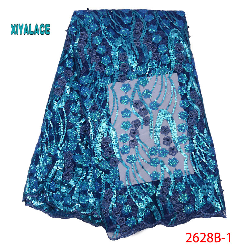 African Lace Fabric 2019 High Quality Nigerian Lace Fabrics Organza Sequins Embroidery French Tulle Lace Fabric YA2628B-1