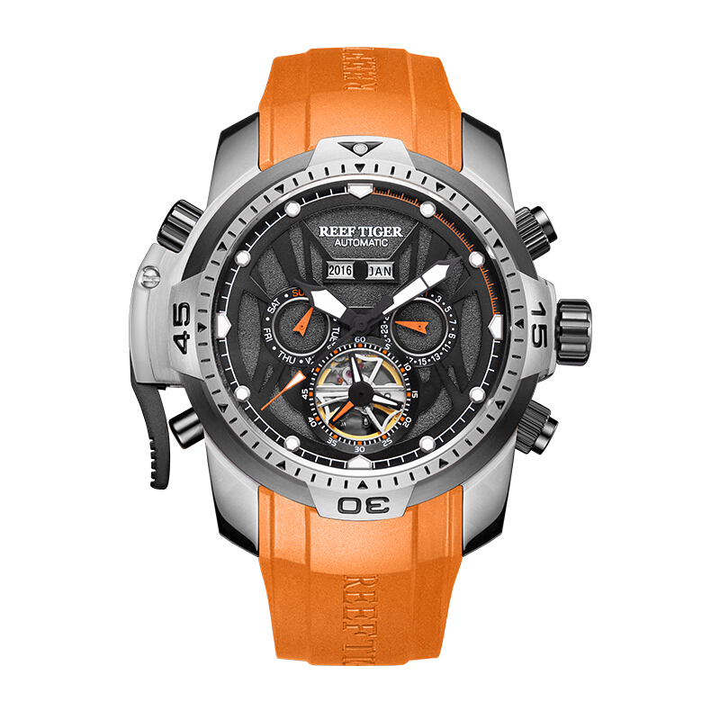 Reef Tiger Aurora Serier RGA3532 Men Sport With Year Month Date Day Calendar Dial Automatic Mechanical Wrist Watch mantra paola 3532