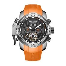 Риф Тигр Аврора Serier RGA3532 Для мужчин спортивные часы с год месяц и день на каждый день с круглым циферблатом и календарем Мужские автоматические механические наручные часы