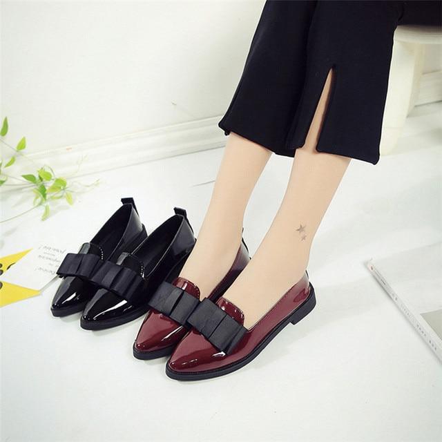Women Pointed Toe Oxford Shoes Casual Comfortable Slip Shoes zapatos mujer ayakkabi sapato feminino scarpe donna