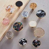 Boutons de tiroir de commode de bouton en laiton de modèle rond de marblee tire des poignées/boutons de placard