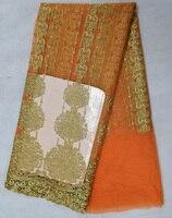 Ücretsiz kargo (5 yards/pc) sıcak satış Afrika Fransız net dantel kumaş ile turuncu altın nakış parti elbise FLS25 için