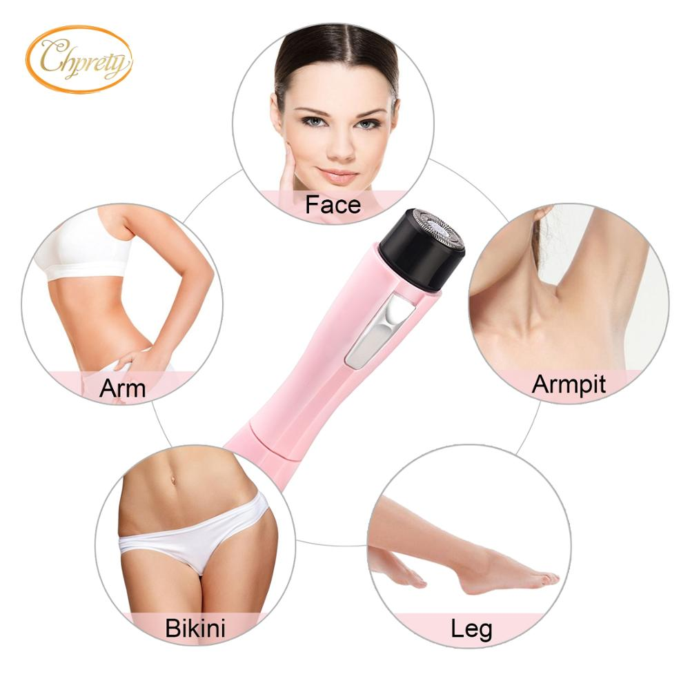 Women S Pink Portable Battery Shaver Facial Hair Removal Machine
