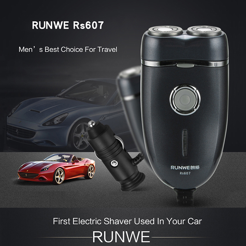 Car Electric Shaver Rotary Twin Blade head Razor for men RUNWE Electric Shave Rechargeable in your car Shaving machines kairui rechargeable dual blade shaver razor w trimmer ac 220v