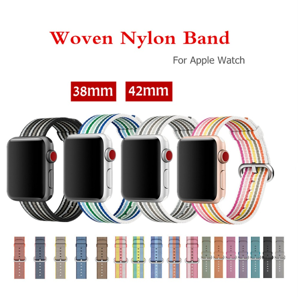 Woven nylon strap for Apple Watch Band 38mm/42mm Sport bracelet belt fabric-like nylon watchband For iWatch series 3/2/1/Edition strap for apple watch 42mm fine woven nylon adjustable replacement sport band for apple watch 38mm series 1 series 2