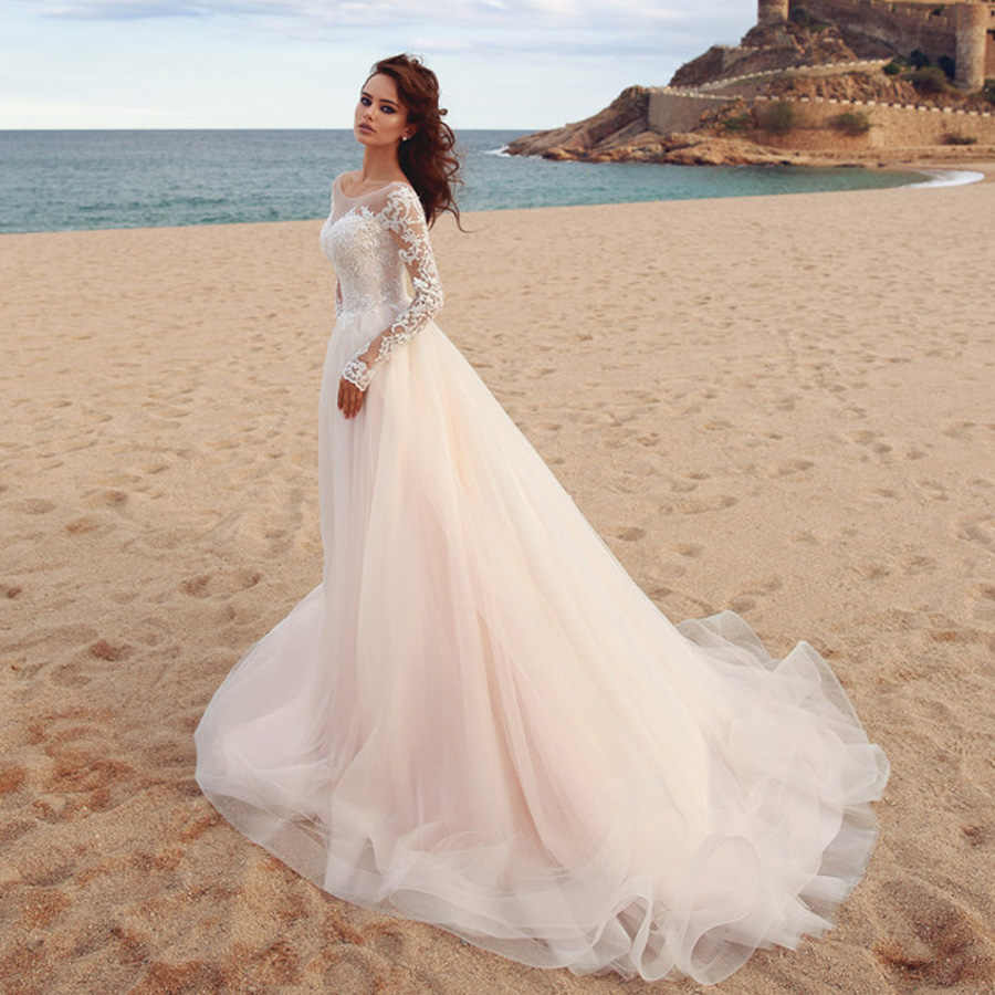 2019 Appliques A-Line Wedding Dress Scoop Long Sleeves Tulle Boho Wedding Gowns Vestido De Novia Princess Wedding Party Dress