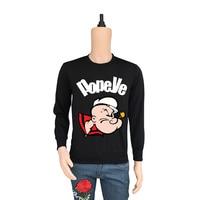 True Reveler cartoon casual hoodie Popeye the Sailor men long sleeve hoodie hip hop tops autumn winter sweatshirts male blouse