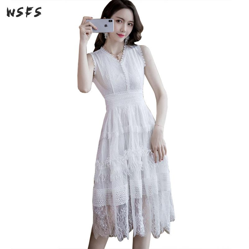 Summer White Pink Dresses Oneck Sleeveless Tassel Lace Womens Dress 2019 Vintage Elegant Bandage Sexy Party Long Midi Sundress
