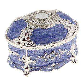 Vintage Metal Earrings Rings Collectible Jewelry Case Rhinestone Delicate Organizer Storage